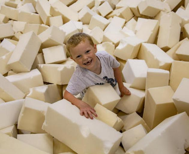 Jacob McMillan enjoying the foam pit. Photo: Geoff Sloan