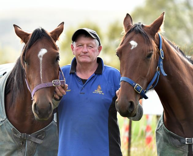 Graeme Anderson with the two young starts of his stable American Lightning (left) and Spirit of...