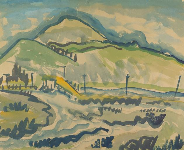 Colin McCahon's Saddle Hill [from Taieri Mouth], 1937. Courtesy of the Colin McCahon Research and...