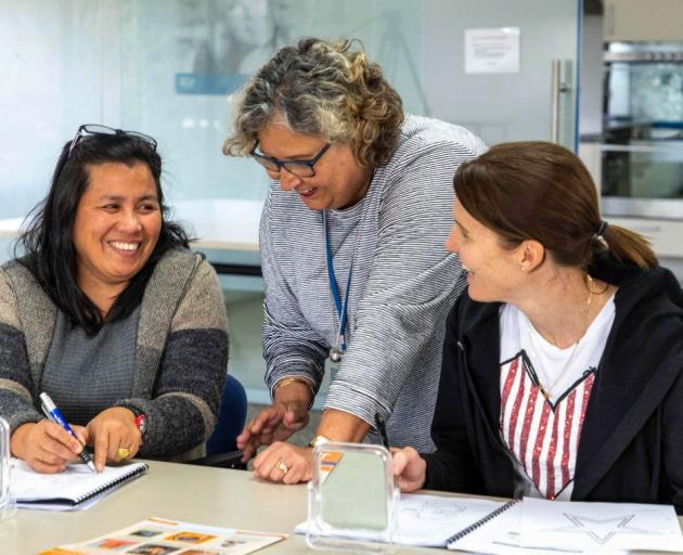 Speld NZ course director Eleanor Boyce (centre) gives guidance on educating children with dyslexia and specific learning disabilities to teacher Maura Bunnol (left) and parent Naomi Dohnt.  Photo: Supplied