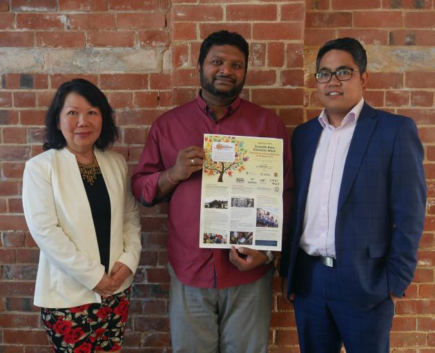 Dunedin Multi-Ethnic Council (from left) treasurer Rebekah Wolfe, president Luxmanan Selvanesan and member Jay Pierce are preparing for Race Relations Week, which starts on Saturday. PHOTO: JESSICA WILSON