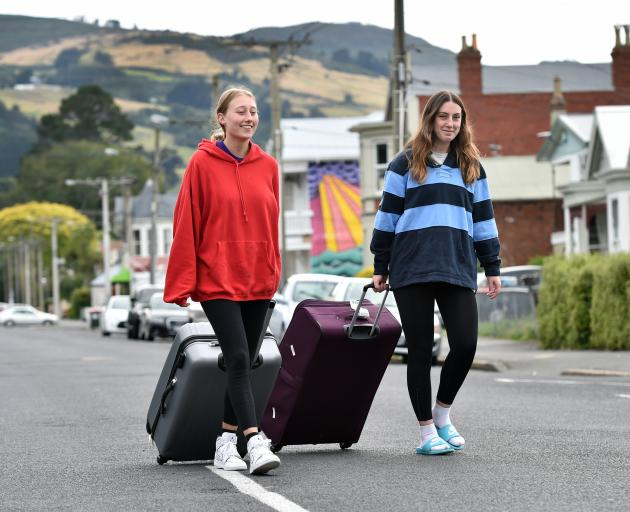 Getting ready to go are students Annika Levestam (left) and Shahlei Hewitson, of Christchurch. Photo: Peter McIntosh