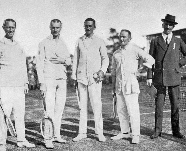 The players in the Great Britain versus Otago lawn tennis match held in Dunedin. Left to right: Messrs A. H. Lowe (Britain), G.Ollivier, Christchurch (N.Z. Champion), A. E. Beamish (Britain), S. N. Brown (Otago) and A. E. Harraway (umpire). — Otago Witnes