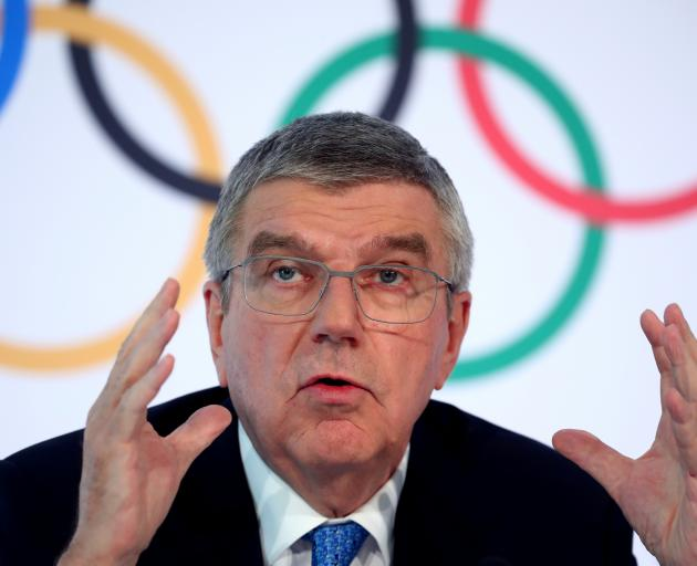 IOC President Bach attends a news conference in Lausanne. Photo: Reuters