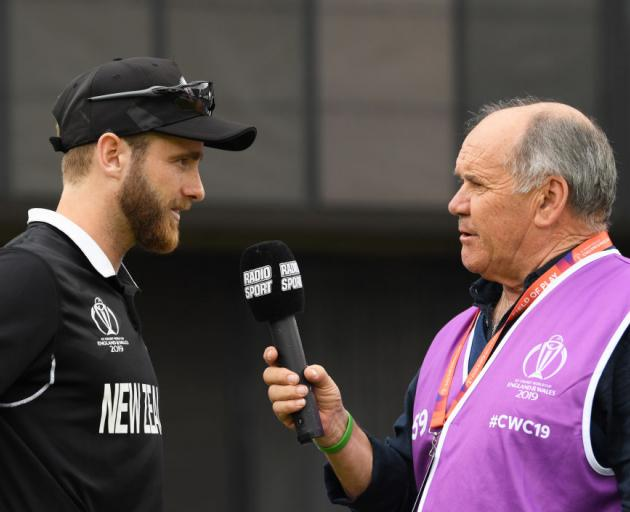 Kane Williamson is interviewed by Bryan Waddle during the Semi-Final match of the ICC Cricket...