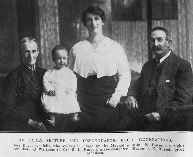 Four generations, from left: Mrs Burns, who arrived in Otago of the Magnet in 1840, her great...