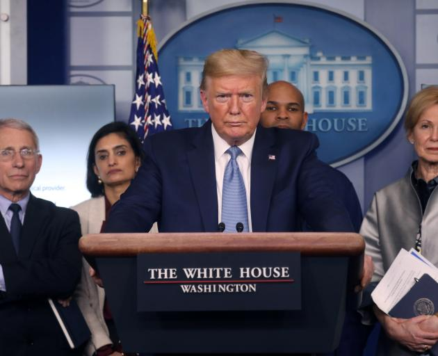 President Donald Trump holds a news briefing on the coronavirus outbreak. Photo: Reuters