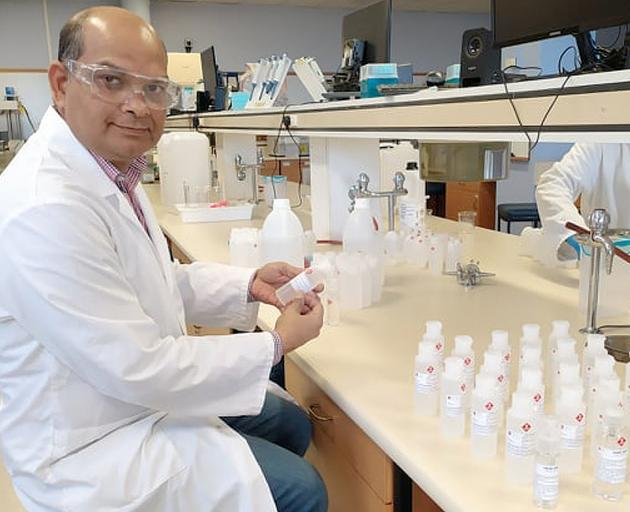University of Otago pharmaceutical sciences senior lecturer Dr Shyamal Das and six of his pharmacy students have created about 100 litres of hand sanitiser to be distributed to the essential services which will remain open on campus, including Campus Watc