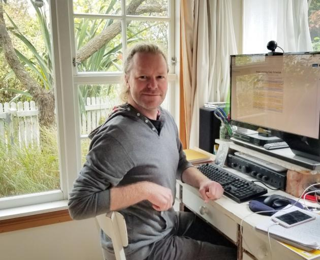 Ciaran Fox shows off his office set up. Photo: Supplied
