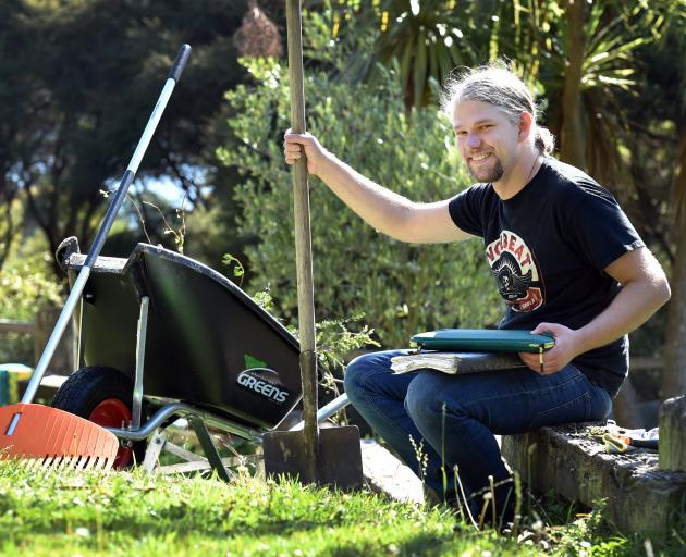 Dunedin chef  Hannes Bareiter is enjoying  working  in his Otago peninsula garden during lockdown...