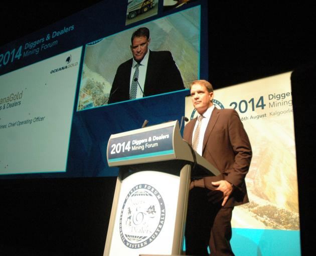 New OceanaGold president and chief executive Michael Holmes speaks at Diggers & Dealers Forum in...