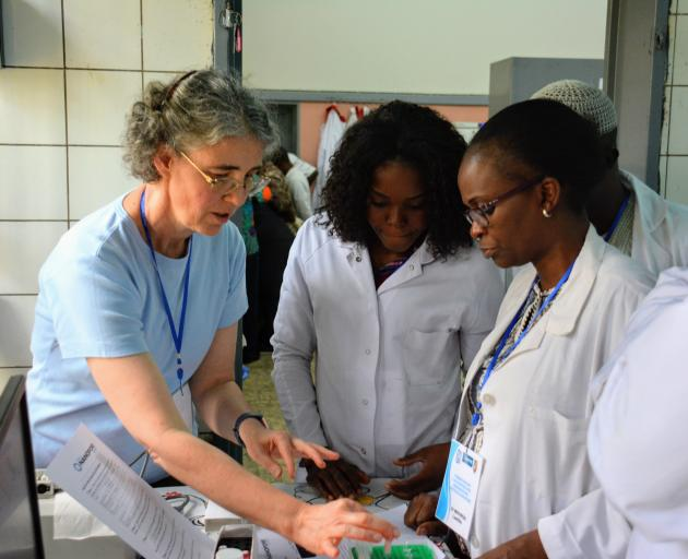 Prof Stanton and her team in her laboratory have been working for several years on developing hand-held diagnostic technology which can be used as point-of-care testing devices. Photo: Supplied