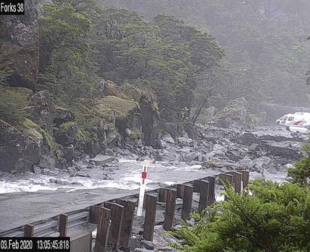 Milford Road is closed today and in flood. Photo: Milford Road Alliance