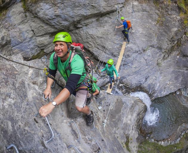 Koha climb ... Wildwire Wanaka owner Mark Morrison begins his climb back to the tourism good...