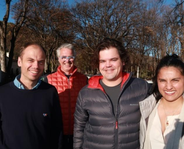 Cutting-edge entrepreneurs: From left, GuestHQ's Richard McLeod and 'presence' tech experts Simon Small, John Stockdale and Priya Samra in Arrowtown this week