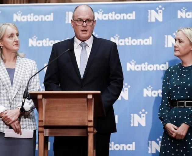 Amy Adams (left), Todd Muller and Nikki Kaye announcing National's portfolio reshuffle. Photo: RNZ