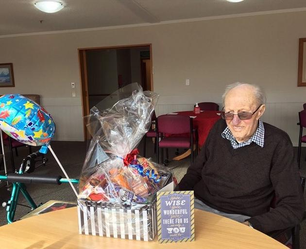 Happier times ... Maurice Skinner, of Winton, celebrates Christmas at the Cargill Lifecare rest...