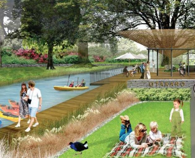An artist's impression of the regeneration of part of the Ōtākaro Avon River Corridor in the...