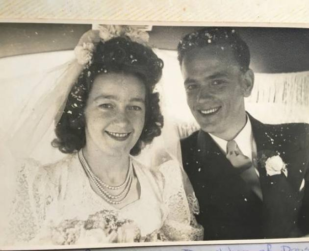 Flo and Jim Pennycook, pictured on their wedding day in 1947. The couple still grieve their first child, who was stillborn in 1958. Photo / Supplied