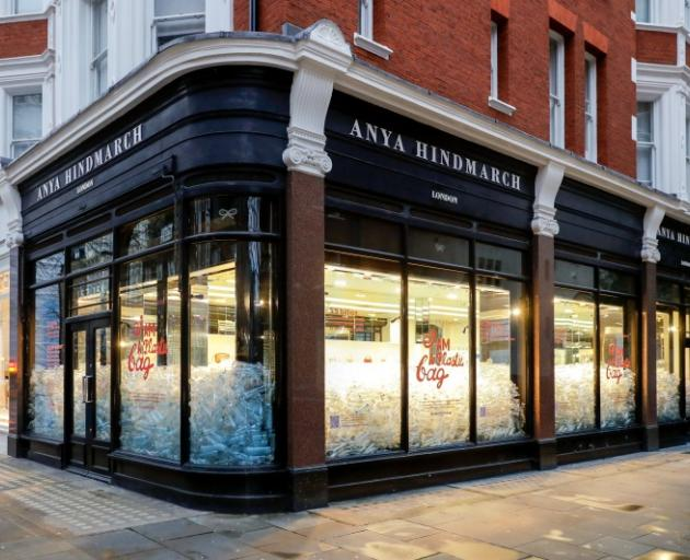 One of Anya Hindmarch's London stores filled with plastic bottle during  London Fashion Week in...