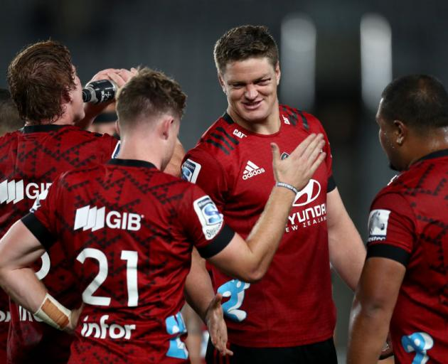 Scott Barrett after the Crusaders beat the Blues at Eden Park on February 14. Photo: Getty Images