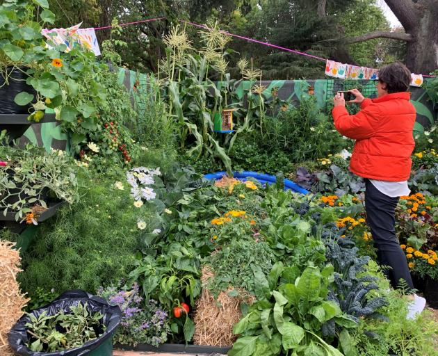 Festival director Sandi MacRae checks out the progress made at a school garden. Photo: Supplied