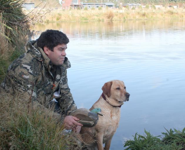 Derek Manson and his dog Holly get ready for the duck-shooting season this weekend. PHOTO: LUISA...