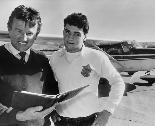Otago Aero Club chief flying instructor John Penno (left) and Jonny Pagan in the ODT about 30...