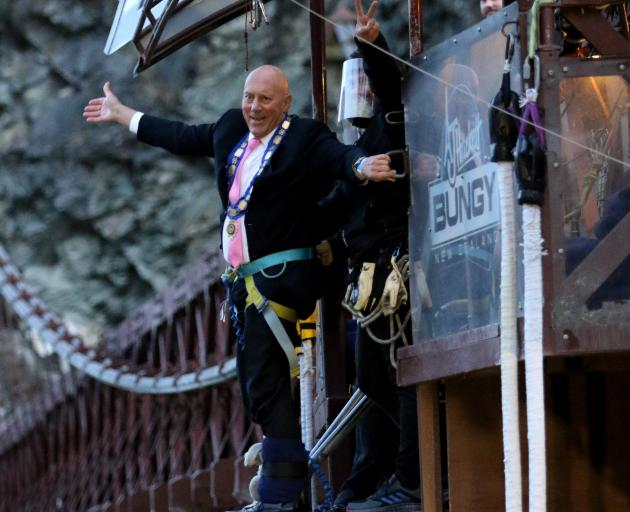 Queenstown Lakes Mayor Jim Boult prepares for a dawn jump from AJ Hackett Bungy's Kawarau Bridge...