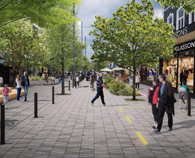 New concept drawings released by the Dunedin City Council show a car, a bike, and a pedestrian...