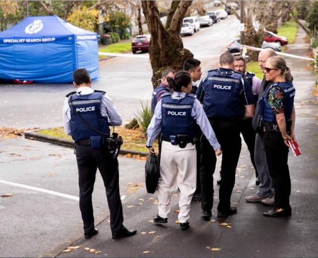 Police at the scene where the body of a person is located on Parkfield Tce in Grafton. A person...