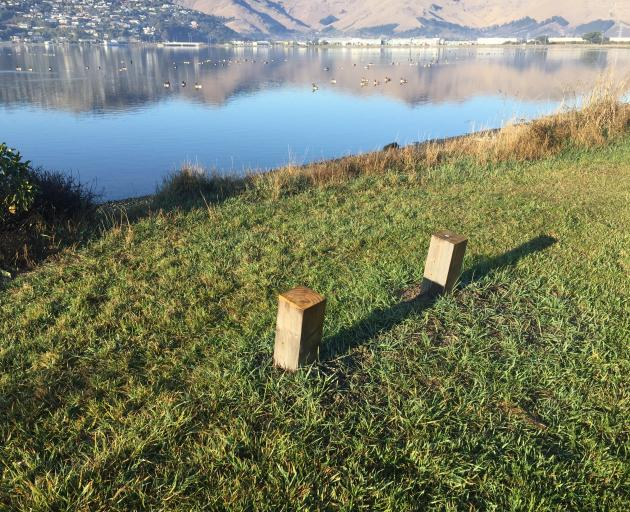 A new macrocarpa wooden seat with a brass plaque honouring two founding members of the Avon...