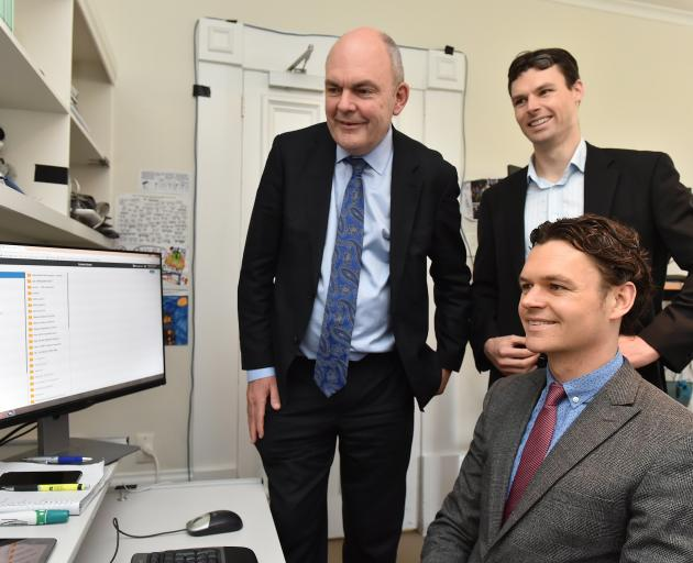 In 2016, then Minister of Science and Innovation Steven Joyce with Shane and Craig Smith (bottom...
