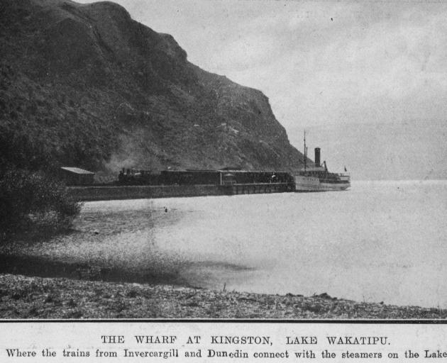 The wharf at Kingston, Lake Wakatipu, where the trains from Invercargill and ...