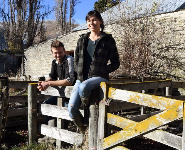 Nadia Lim and her husband, Carlos Bagrie, with one of their projects, a historic woolshed which...