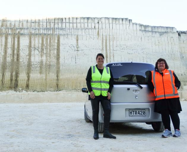Dagmar Rohrbach (left), of Bigger Picture Oamaru and Parkside Quarries tour operator Judy Mitchell-Oats at the Weston quarry where a temporary drive-in movie theatre will screen a film on June 20. PHOTO: DANIEL BIRCHFIELD