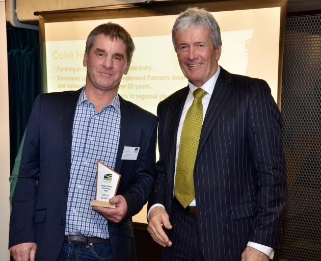 Colin Hurst (left) received his Arable Farmer of the Year award from Agriculture Minister Damien...