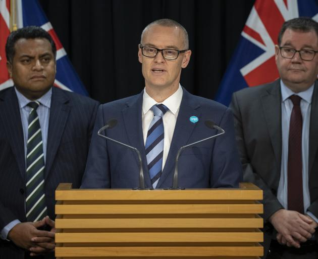 Dunedin North MP David Clark, flanked by Cabinet colleagues Kris Faafoi (left) and Grant...