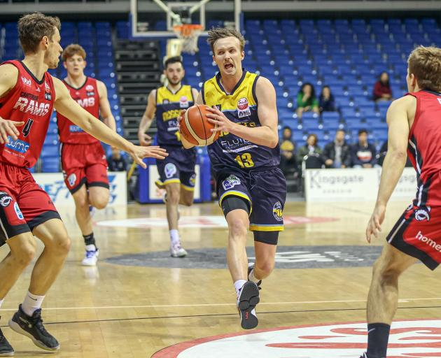 Otago Nuggets swingman Joshua Aitcheson goes all out on attack during the NBL Showdown semifinal...