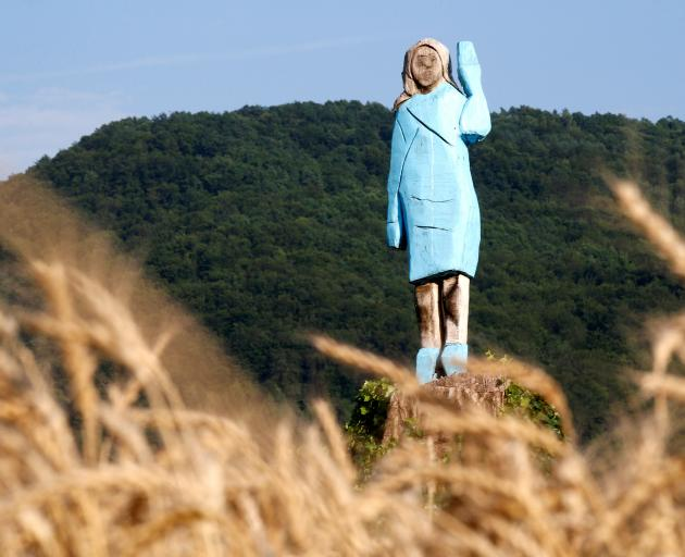 The life-sized wooden sculpture of US first lady Melania Trump before it was vandalised. Photo: Reuters