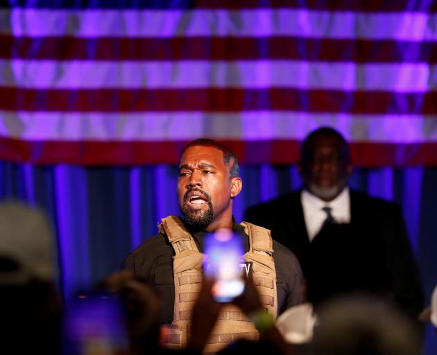 Kanye West held his first rally in support of his presidential bid in North Charleston, South...