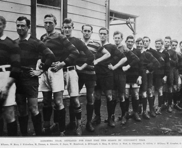 Alhambra rugby team, defeated for the first time this season by University (from left) J. McLaren...