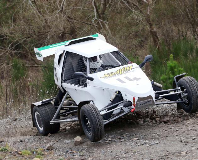 Matt Penrose, of Christchurch, bounces his new high tech Cross Car to claim third by just 1.79...