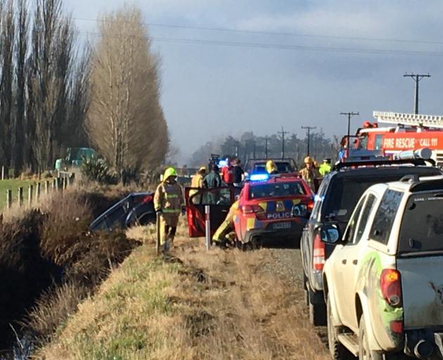 Emergency services at the scene this morning. Photo: Richard Davison