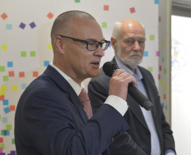 Minister of Health David Clark and Dunedin Hospital rebuild convener Pete Hodgson announce the...