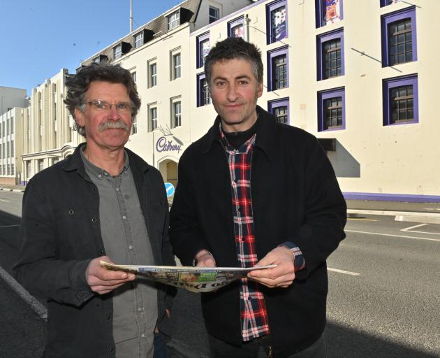 Ted Daniels (left) and Athol Parks outside the Cadbury building last year. Photo: Linda Robertson