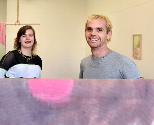 Artists Laura Duffy and Owen Connors with works from ''DUIRVIAS''. PHOTO: PETER MCINTOSH
