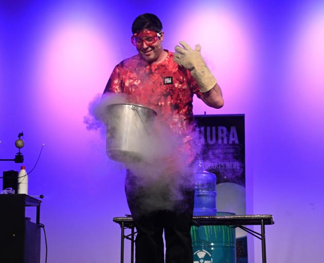 Otago Museum science presentation co-ordinator Amadeo Enriquez Ballestero demonstrates what...