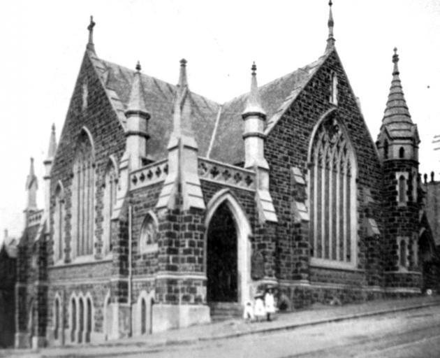 Trinity Methodist Church, Stuart St. —  Otago Witness, 20.07.1920. COPIES OF PICTURE AVAILABLE...