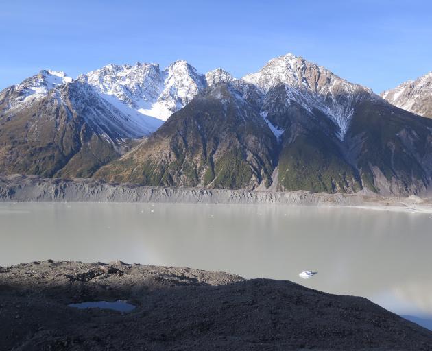 The view across Tasman Glacier lake.